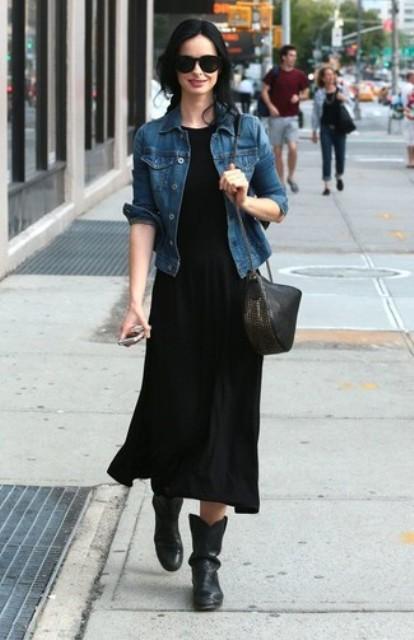 With black midi dress, denim jacket and bag
