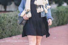 With black mini dress, denim jacket, chain strap bag, marsala hat and black tassel boots