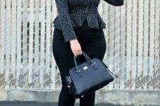 With black pants, black leather bag and cutout shoes