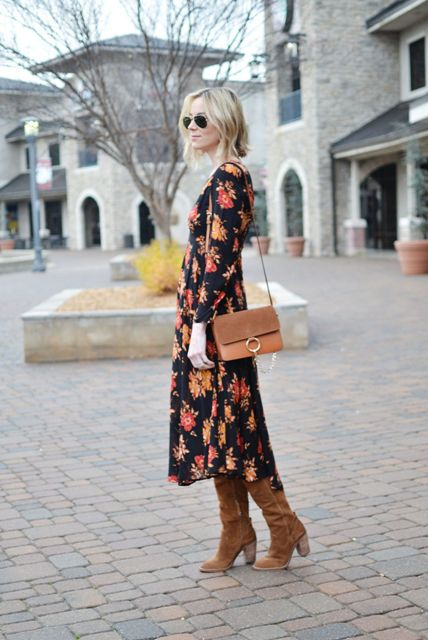 With brown bag and brown suede high boots
