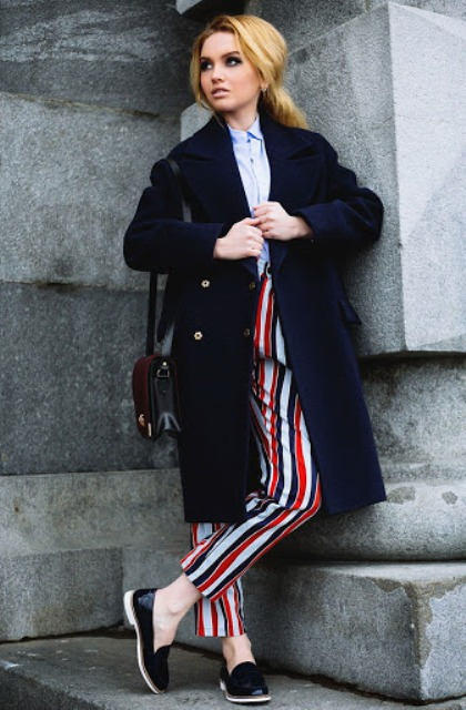 With button down shirt, navy blue coat, black and marsala bag and black shoes