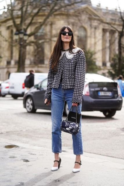 With checked jacket, jeans and black and white shoes