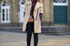 With checked scarf, white shirt, black skinny pants and suede boots