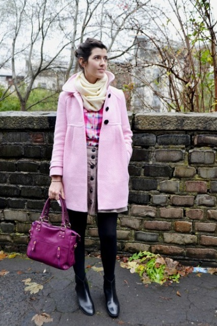 With checked shirt, mini skirt, purple bag, pale pink coat and boots