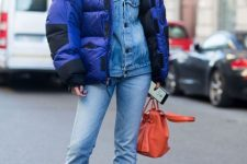 With denim jacket, red bag and jeans