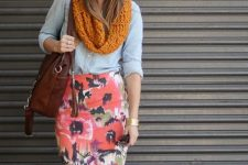 With denim shirt, floral pencil skirt and brown bag