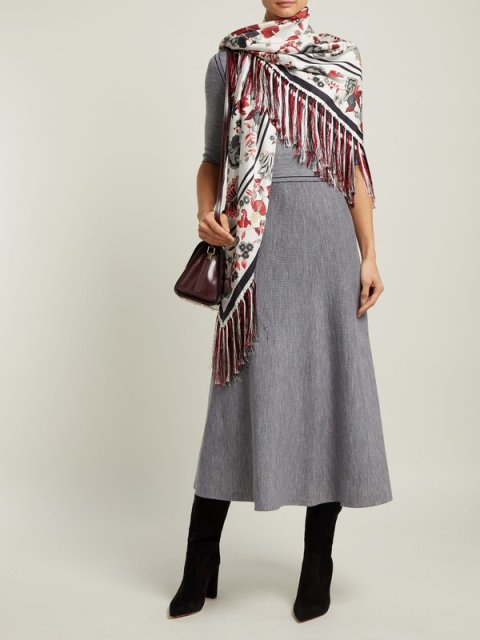 With gray midi dress, leather bag and black high boots