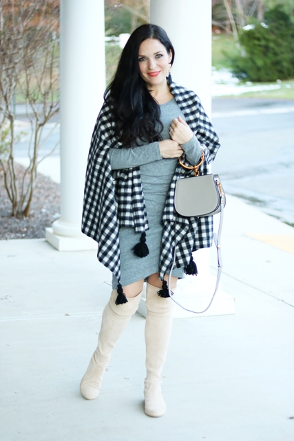 With gray wrapped dress, gray bag and beige over the knee boots
