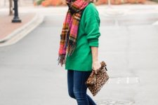 With green sweater, plaid scarf, leopard clutch and skinny jeans