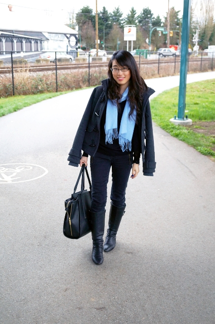 With jeans, black high boots, jacket, tote bag and shirt