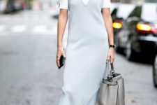 With light blue dress, marsala boots and gray tote bag
