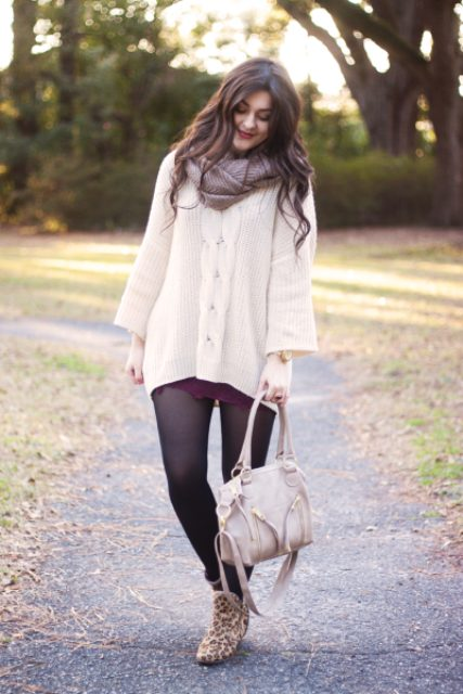 With marsala mini dress, white long sweater, leopard boots and white bag