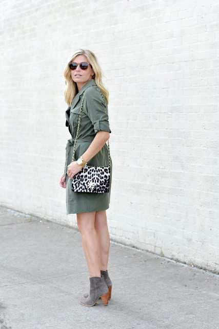 With olive green dress and gray suede ankle boots