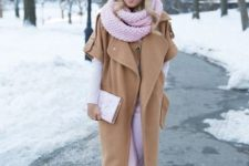 With pale pink trousers, clutch, white shirt and embellished shoes