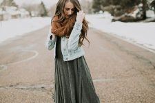 With pleated midi dress, denim jacket and brown shoes