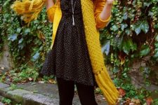 With printed dress, pale pink shoes and yellow cardigan