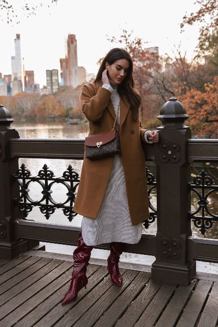 With printed midi dress, brown coat and marsala low heeled boots