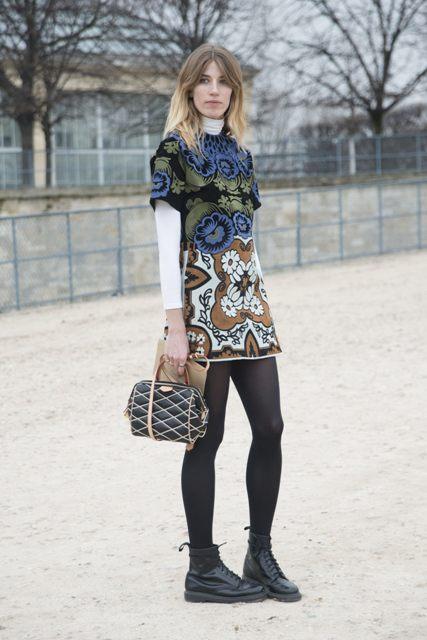 With printed mini dress and printed bag