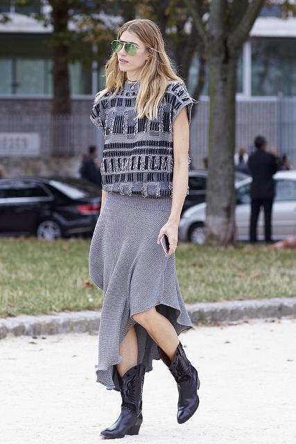 With printed shirt and gray skirt