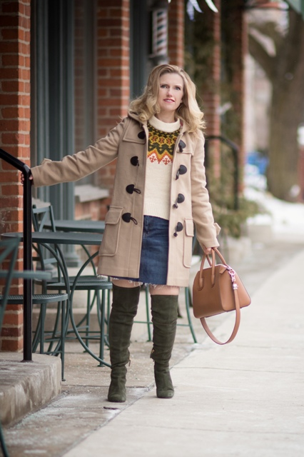 With printed sweater, denim mini skirt, brown bag and olive green suede boots