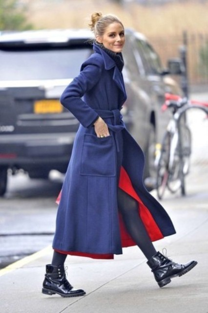 With red dress and navy blue maxi coat