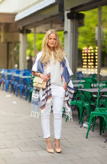 With shirt, beige bag, white pants and beige high heels