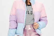With striped shirt and pale pink metallic mini skirt