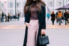 With turtleneck, black midi coat, black mini bag and high boots