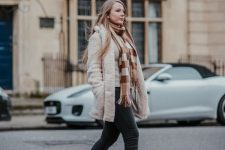 With white jacket, pants and brown suede ankle boots