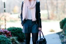 With white shirt, black leather shorts, black leather jacket, bag and ankle boots