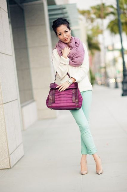 With white shirt, purple bag, mint green pants and beige pumps