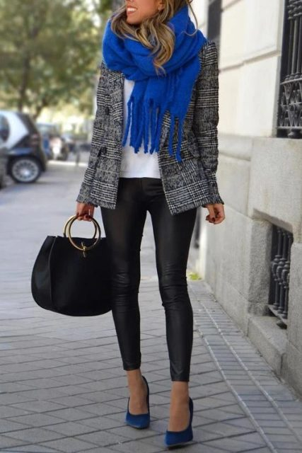 With white shirt, tweed blazer, bag, leggings and blue pumps
