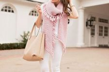 With white t-shirt, white pants, beige tote bag and beige suede ankle boots