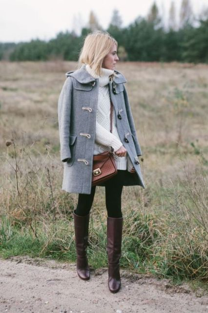With white turtleneck sweater dress, black tights, brown bag and dark brown high boots