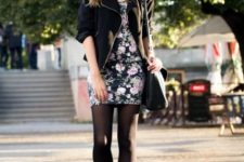 With zip jacket, black heeled boots and bag