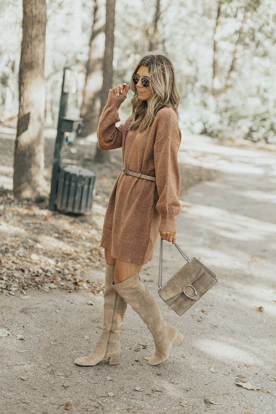 a brown short sweater dress, a grey belt, grey knee boots and a grey bag for fall or winter