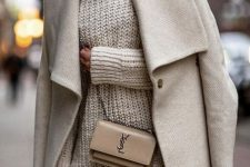 a creamy chunky knit mini dress, a matching midi coat, thigh high boots and a tan bag for winter