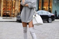 a grey chunky knit sweater dress, a white bag and grey thigh high boots for a sexy look