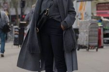a grey sweater, coat and scarf, black pants, white sneakers and a black bag for an everyday look