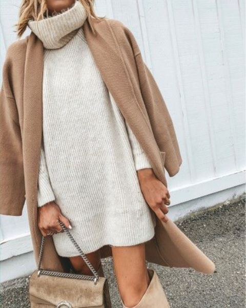 a neutral mini sweater dress, a camel coat, camel boots and a matching bag for fall and winter