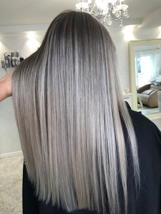 dark hair with ashy blonde balayage is a stylish and bold idea to rock, very romantic and beautiful