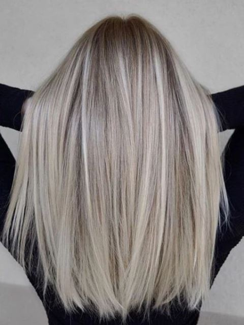 darker hair with icy blonde and ashy blonde airtouch highlights looks very stylish and beautiful