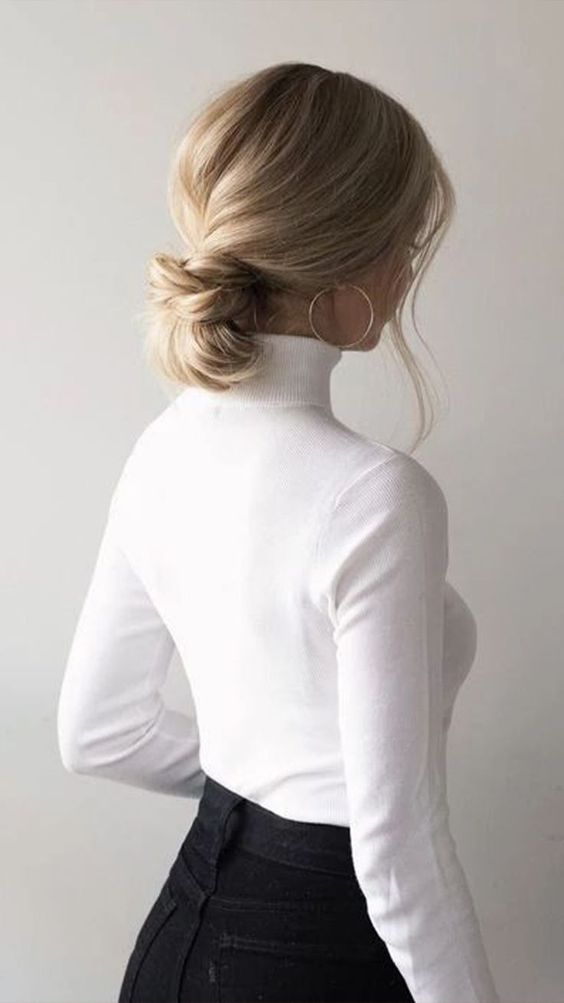 a casual low updo with some volume and some bangs down is always an elegant idea to try