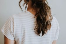 08 a low twisted ponytail with waves and some locks down is ideal to wear today and it's comfy
