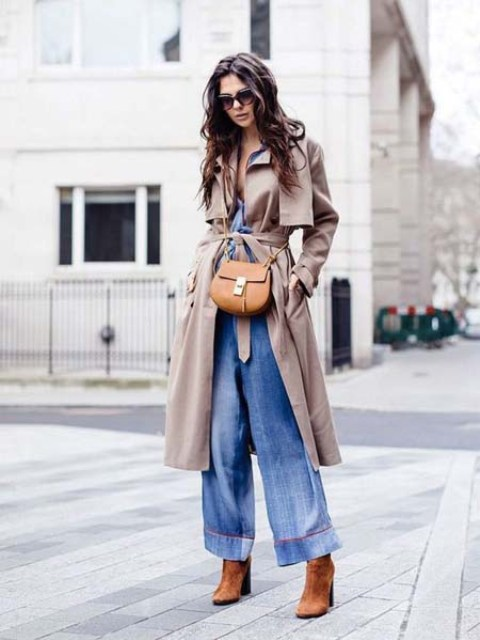 With beige trench coat, brown bag and brown suede boots