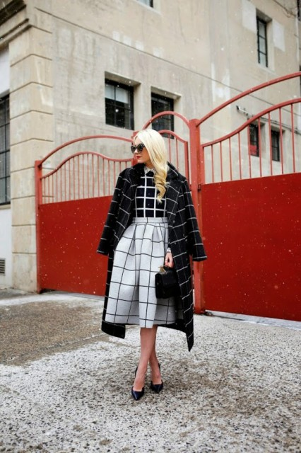 With checked shirt, checked midi coat and black pumps