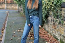 With classic jeans and light blue low heeled shoes