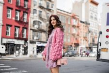 With floral mini dress, marsala suede boots and printed bag