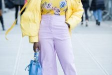 With floral shirt, lilac culottes, white high boots and light blue leather bag