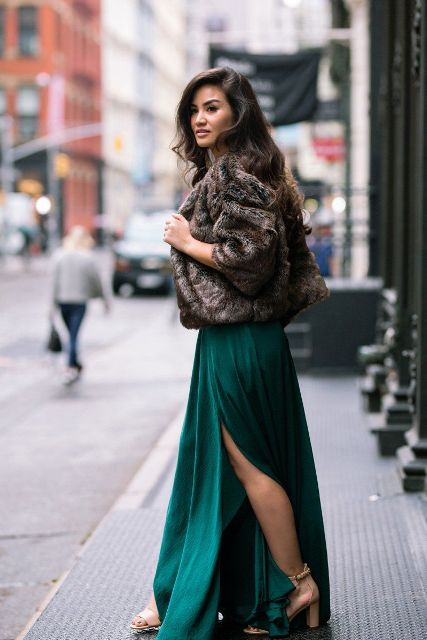 With green maxi dress and beige ankle strap shoes
